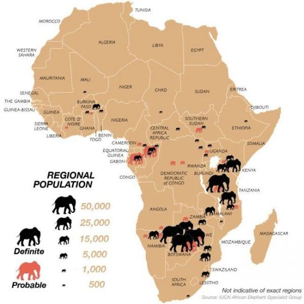 areale dell'elefante africano