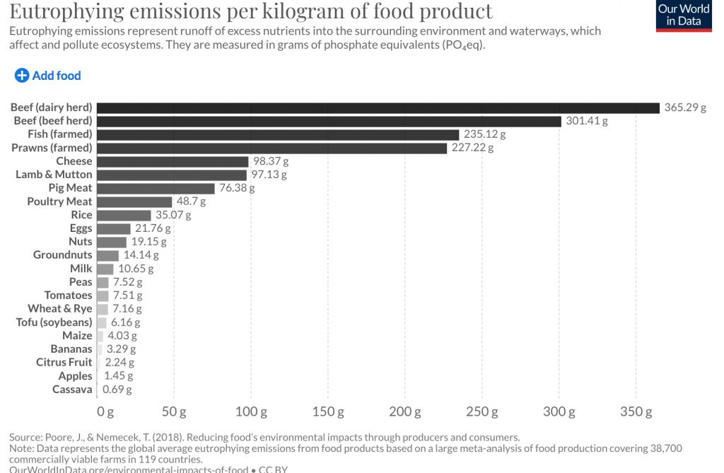 eutrofizzazione alimentazione cibo
