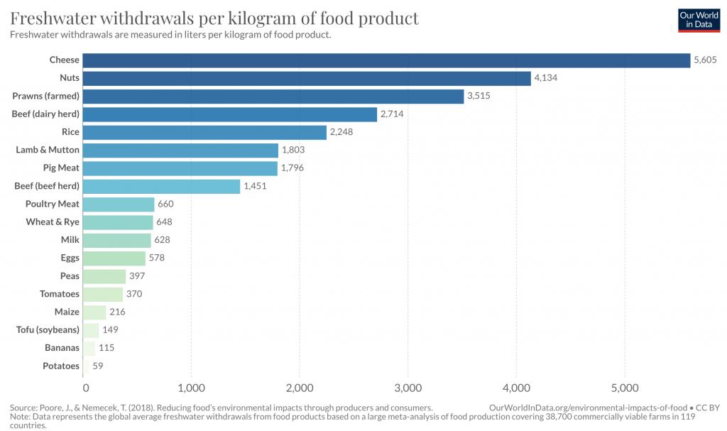 consumo risorse idriche produzione cibo